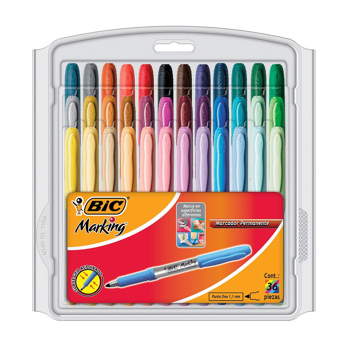MARCADOR PERMANENTE BIC MARKING (COLORES, 36 PZS.)