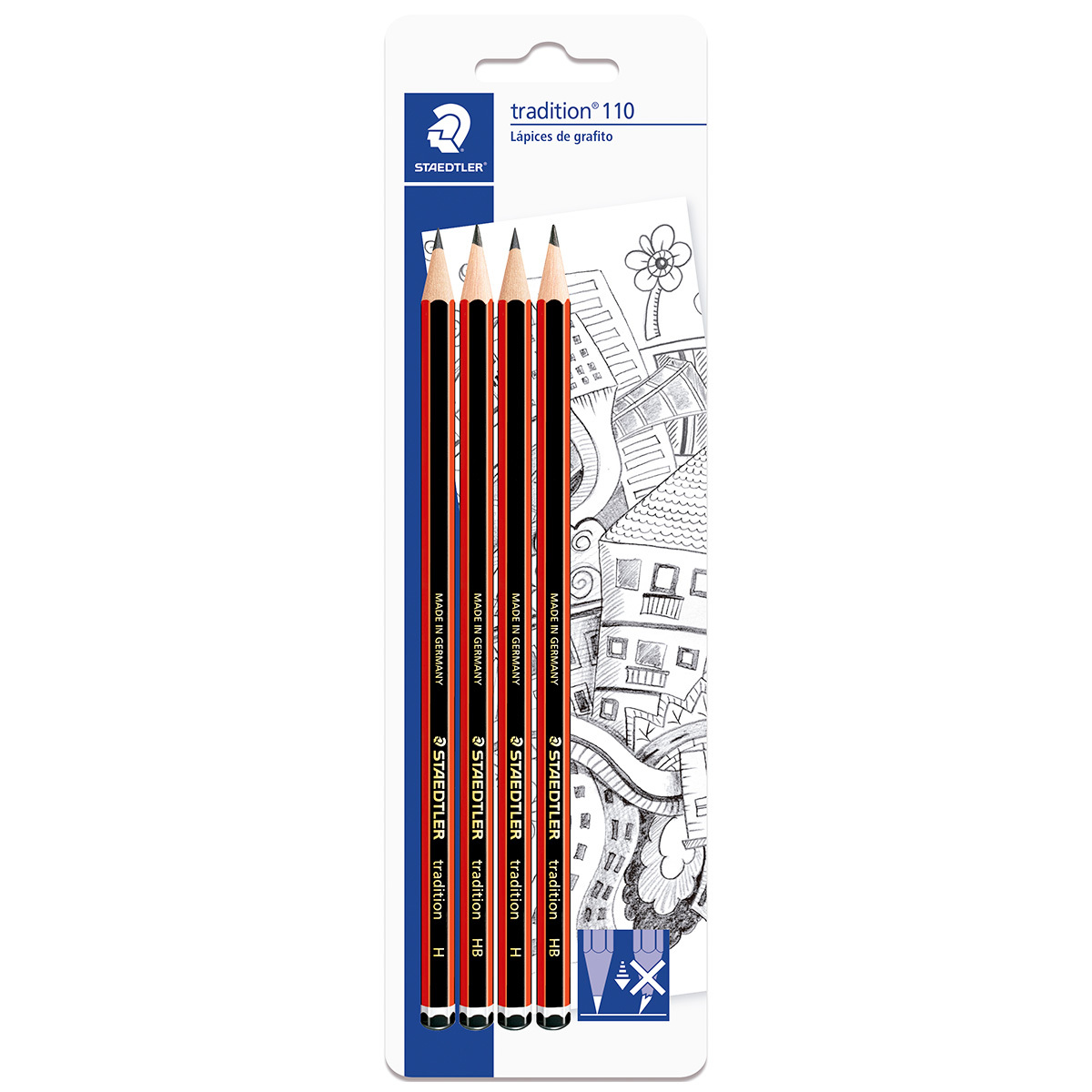 LAPICES STAEDTLER TRADITION 110 (NEGRO/ROJO, 4 P.)