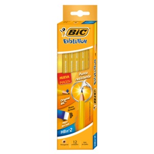LAPIZ BIC EVOLUTION (AMARILLO, 12 PZS.)
