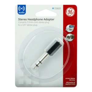 ADAPTADOR PARA AUDIFONOS GENERAL ELECTRIC 3.5MM A 1/4 PULGADAS (NEGRO)
