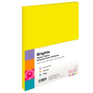 PAPEL DE COLOR POCHTECA BRIGHTS (AMARILLO NEON, 100 HOJAS)